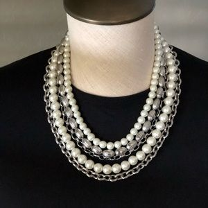 WHBM Faux Pearl & Silver Tone Necklace